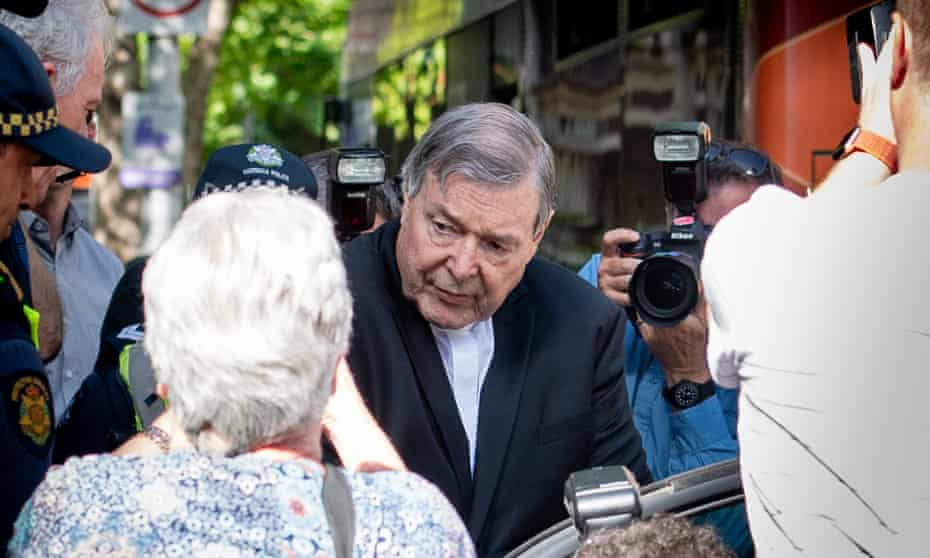 Cardinal George Pell leaving court on 11 December, the day he was found guilty