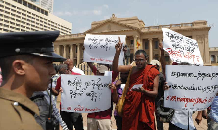 Members of Sri Lanka's Frontline Socialist Party protest outside President Gotabaya Rajapaksa's office in Colombo, Sri Lanka, 11 February.