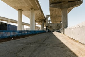 The area underneath Interstate 280 overpass near Evans Avenue in San Francisco was recently lined with RVs until the city made them relocate.