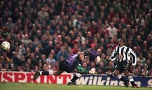 Asprilla scores Newcastle's third goal.