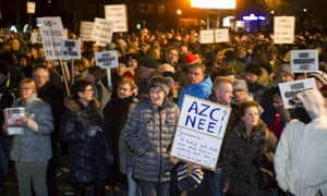 A protest against plans to open a refugee centre in Heesch, Netherlands