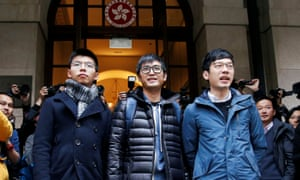 Joshua Wong, Alex Chow and Nathan Law outside the court of final appeal in Hong Kong