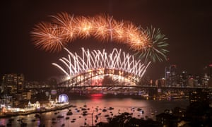 Fireworks above Sydney Harbour during the midnight display to mark the new year
