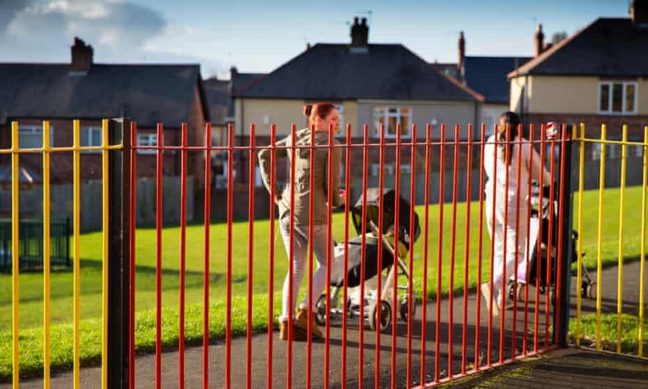 Women pushing children in their buggies in Newcastle
