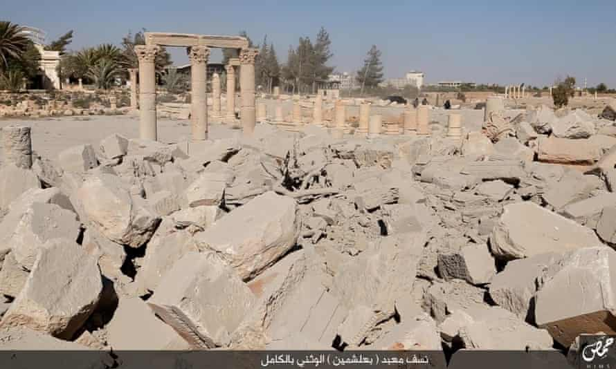 Images published by Isis supporters of the apparent destruction of Baal Shamin.