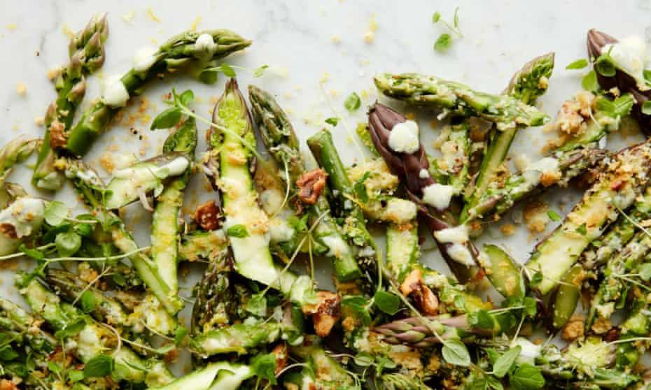 Crunch time: Anna Jones's asparagus salad with breadcrumbs and yoghurt.
