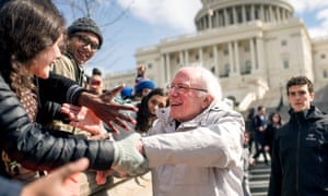 Bernie Sanders meets demonstrators in Washington DC, March 2018