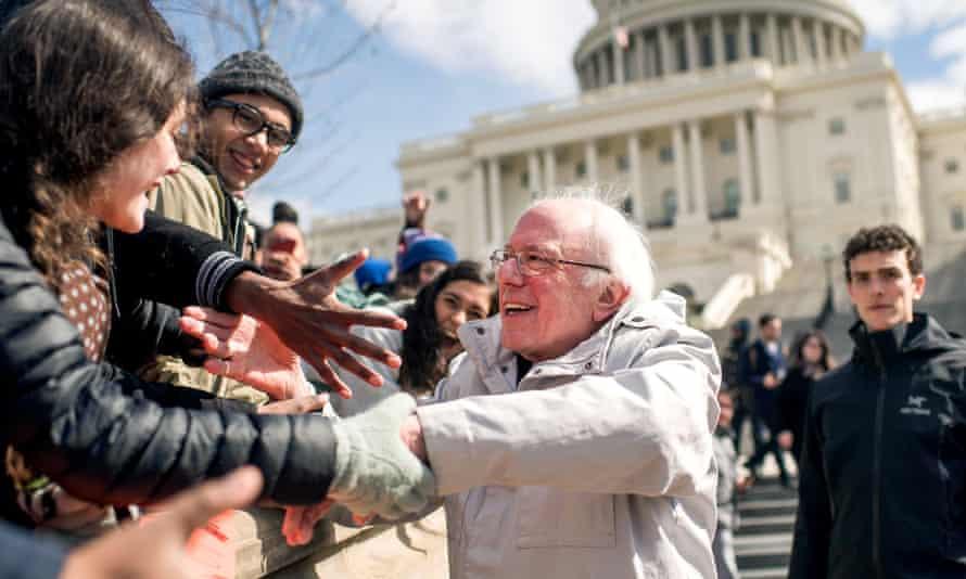 Bernie Sanders meets demonstrators in Washington DC, March 2018