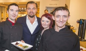 Leonardo DiCaprio poses with (l-r) Joe Hart, Biffy Mackay and Sonny Murray at Home restaurant in 2016