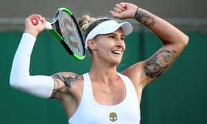 Polona Hercog celebrates winning her second round match against Madison Keys.