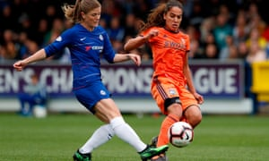 Chelsea's Maren Mjelde (L) with Lyon's Amel Majri.