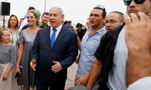 Benjamin Netanyahu meets the media after the cabinet meeting