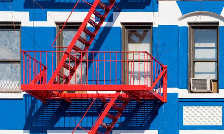 Apartment building with fire escapes