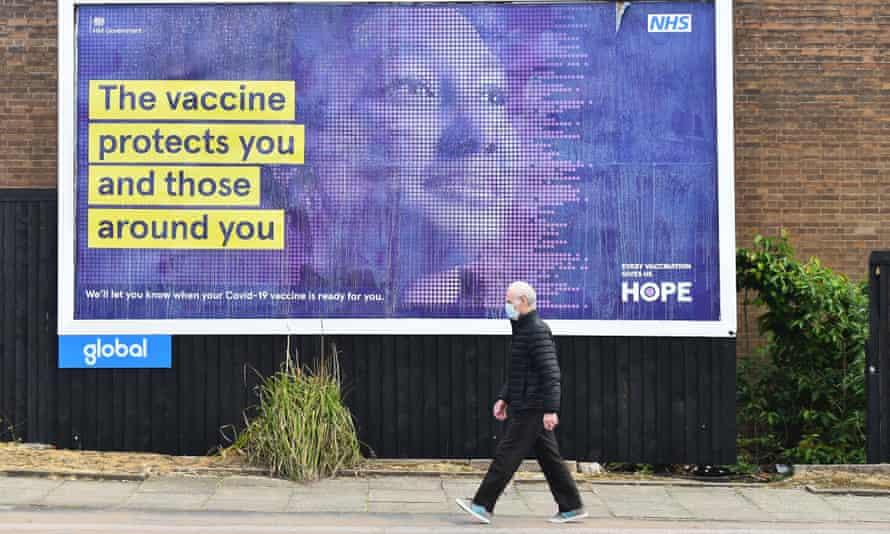 A billboard advertising the coronavirus vaccine, Stoke-on-Trent, 12 May 2021.