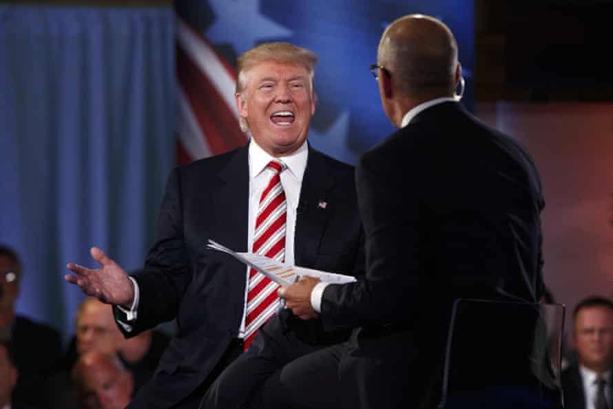 Donald Trump talks to moderator Matt Lauer at the commander-in-chief forum.