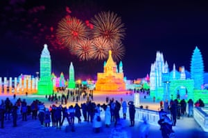 Harbin, China. The 35th Harbin international ice and snow festival kicks off with a fire works display over the exhibits