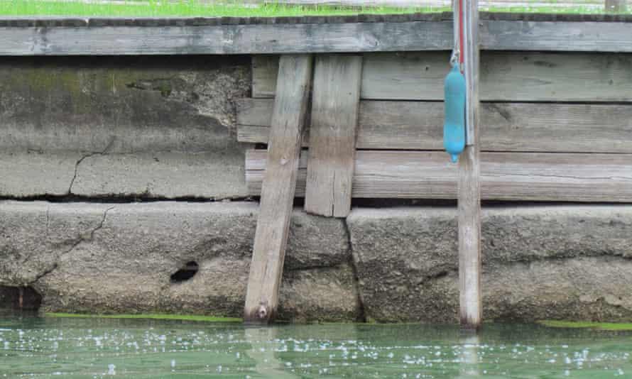 Crumbling dam wall at Lake Buckeye