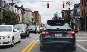 an Uber self-driving car in Pittsburgh, PA