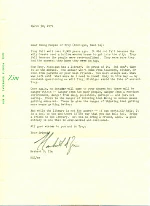 Letter from Herbert Zim to library in Troy, Michigan