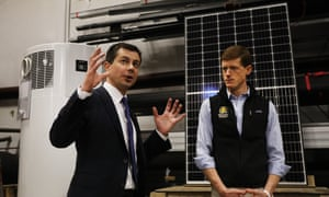 Pete Buttigieg in Brentwood, New Hampshire, on Tuesday. He said of the Iowa caucuses: 'They're not complete but results are in from a majority of precincts and they show our campaign in first place.'