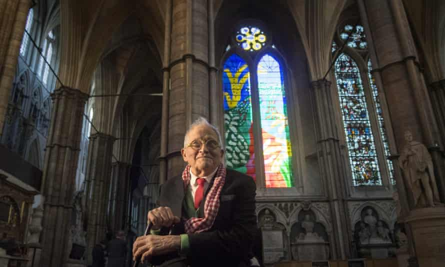 British artist David Hockney poses in front of The Queen's Window in Westminster Abbey, central London .