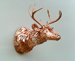 Stag wall trophy bust made by Rachel Denny.
