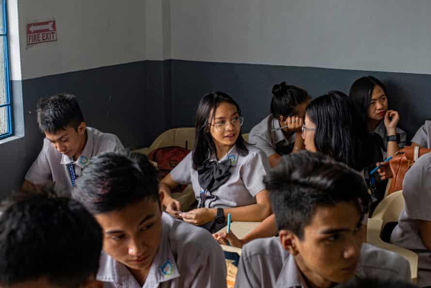 Jhen's daughter, Jennidel, 17, at school in Cavite, Philippines