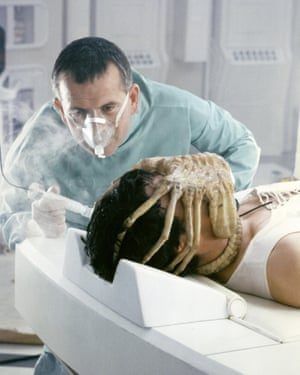 Calm technocrat … Ian Holm with John Hurt in Alien.