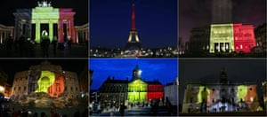 Colours of the Belgian flag being projected on to (from top left) the Brandenburg Gate in Berlin, the Eiffel Tower in Paris, the town council building in Belgrade, the Trevi Fountain in Rome, the Royal Palace at Dam Square in Amsterdam and Rome's Campidoglio