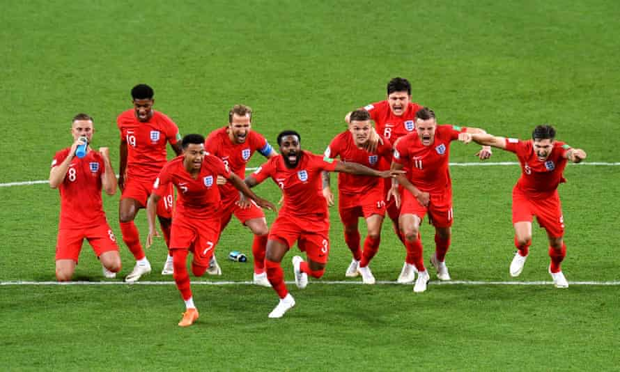 England's players celebrate after victory over Colombia in the shootout