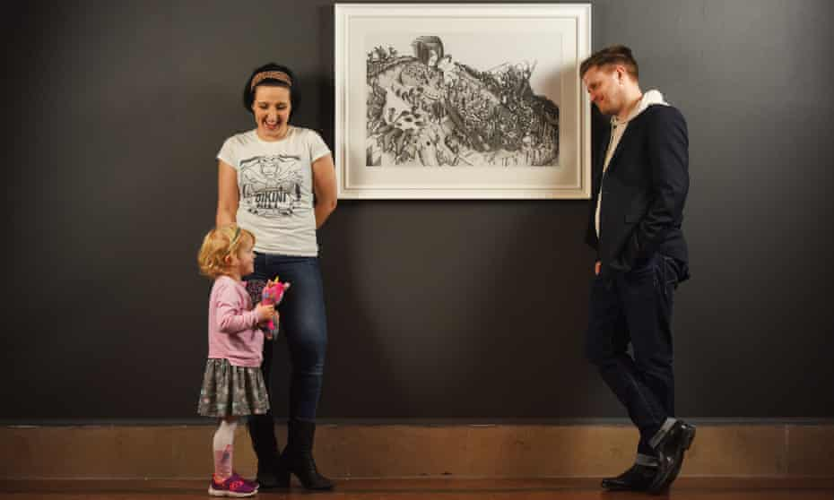 Dad's pictures … Gilbert with his wife Stacey and daughter Bay.