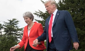 Theresa May and Donald Trump at Chequers in July 2018