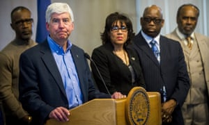 Governor Rick Snyder speaks during a news conference in Flint about the water crisis.