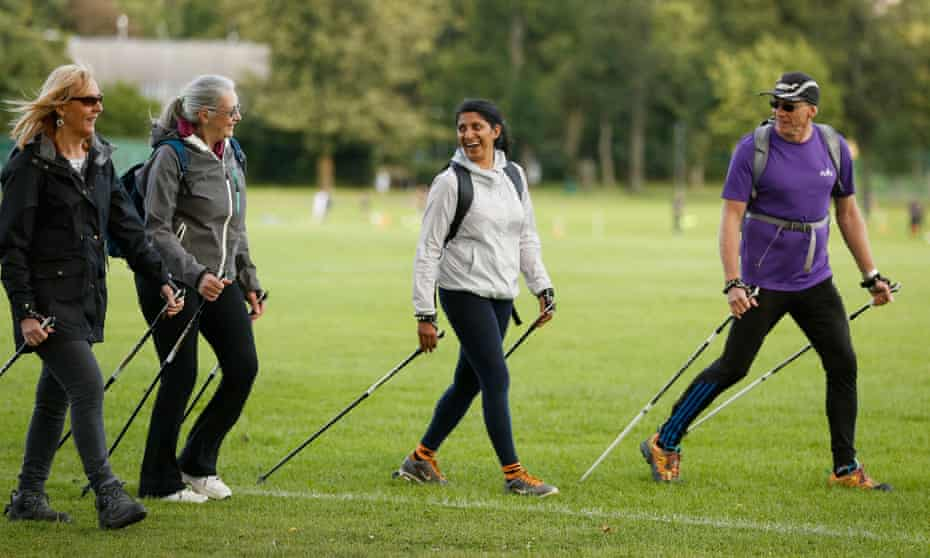 Making strides ... the beginners go Nordic in Inverleith park with her instructor Trevor.