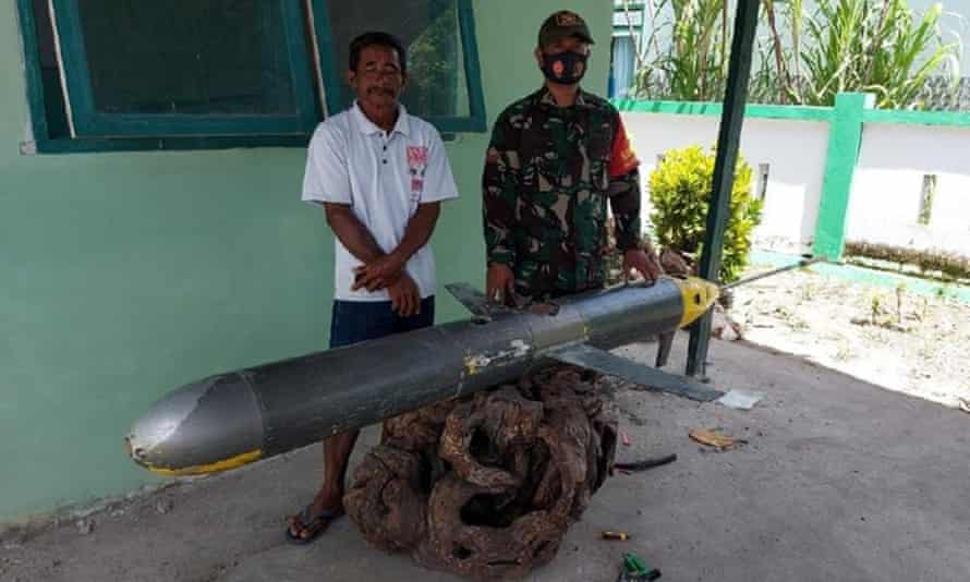 Suspected Chinese Seawing drone recovered by a fisher and the Indonesian navy