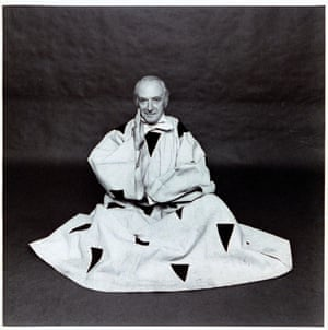 Cecil Beaton wearing a felt and velvet costume designed by Henri Matisse for Sergei Diaghilev's production Le Chant du Rossignol, which opened in 1920.