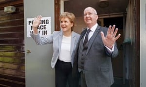 Nicola Sturgeon and her husband Peter Murrell earlier on Thursday.