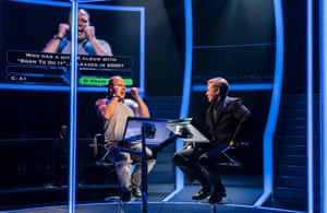 Gavin Spokes as Charles Ingram with Keir Charles as Chris Tarrant in Quiz at the Minerva theatre