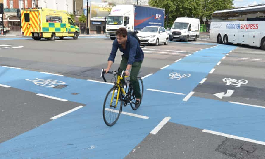 'It resembles a board game': a superhighway junction at Cambridge Heath, east London.
