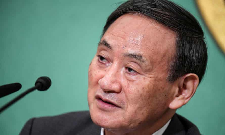 Yoshihide Suga at a debate for the LDP leadership election in Tokyo