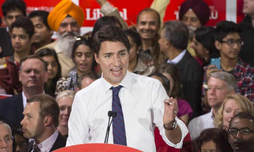 Justin Trudeau speaks at a rally
