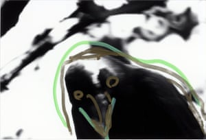 This image, from 1992, is a return to one of his favourite motifs. In Japanese mythology, ravens are disruptive creatures, omens of turbulent times