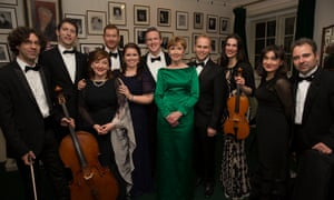 Backstage at Wigmore Hall with the Contempo Quartet flanking (from second left) Finghin Collins, Ailish Tynan, Robin Titschler, Tara Erraught, Gavan Ring, Ann Murray and Jonathan Ware.