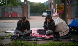 Afghan refugees on hunger strike outside the Home Office in Glasgow last August