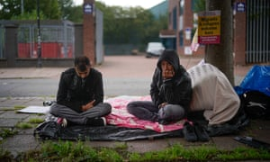 Afghan refugees and Serco tenants go on hunger strike outside a Home Office building in Glasgow 2018. Serco later evicted around 300 tenants.