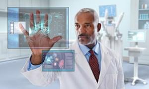doctor hand digital display
