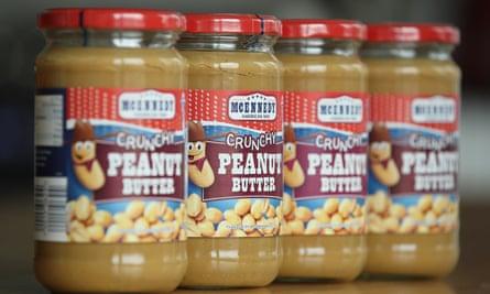 peanut butter jars on supermarket shelf