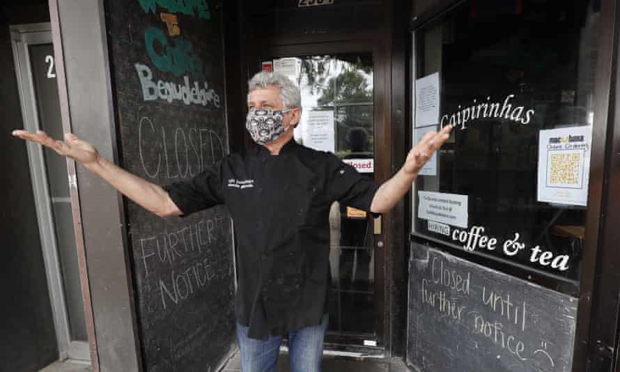 Owner Claudio Gianello at his temporarily closed Café Beaudelaire restaurant, on 23 June 2020 in Ames, Iowa.