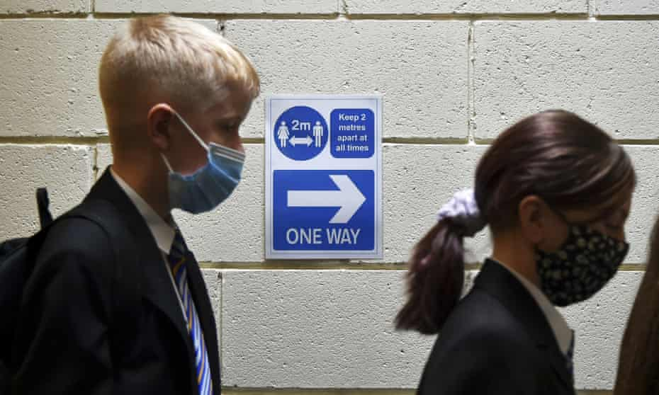 Pupils wear face masks at a secondary school in Sheffield.