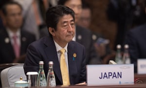 Japan prime minister Shinzo Abe at the G20 summit on Sunday.
